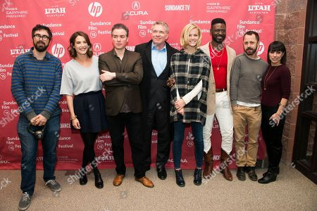 """Stock Picture of From left, director Andrew Bujalski, actress Cobie Smulders, actors Kevin Corrigan and Andrew Michael Hall, actress Brooklyn Decker, actors Tishuan Scott and Giovanni Ribisi and actress Constance Zimmer attend the """"Results"""" premiere during the 2015 Sundance Film Festival, in Park City, Utah"""