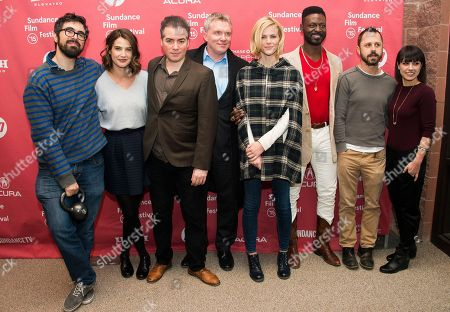 """Director Andrew Bujalski, from left, actress Cobie Smulders, actors Kevin Corrigan and Andrew Michael Hall, actress Brooklyn Decker, actors Tishuan Scott and Giovanni Ribisi and actress Constance Zimmer attend the """"Results"""" premiere during the 2015 Sundance Film Festival, in Park City, Utah"""