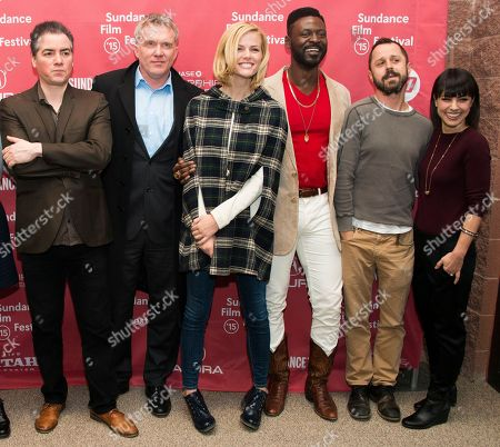 """From left, actors Kevin Corrigan and Andrew Michael Hall, actress Brooklyn Decker, actors Tishuan Scott and Giovanni Ribisi and actress Constance Zimmer attend the """"Results"""" premiere during the 2015 Sundance Film Festival, in Park City, Utah"""