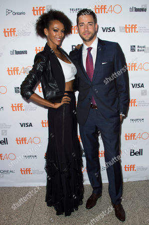 "Judith Shekoni and Zachary Levi attend a premiere for ""Heroes Reborn"" on day 6 of the Toronto International Film Festival at The Winter Garden Theatre, in Toronto"