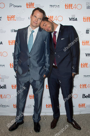 """Jack Coleman and Zachary Levi attend a premiere for """"Heroes Reborn"""" on day 6 of the Toronto International Film Festival at The Winter Garden Theatre, in Toronto"""