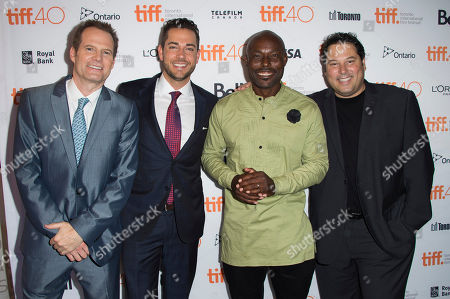 """Jack Coleman, from left, Zachary Levi, Jimmy Jean-Louis and Greg Grunberg attend a premiere for """"Heroes Reborn"""" on day 6 of the Toronto International Film Festival at The Winter Garden Theatre, in Toronto"""
