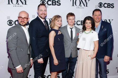 Robert Askins, from left, Moritz von Stuelpnagel, Geneva Carr, Steven Boyer, Sarah Stiles and Kevin McCollum attend the 2015 Tony Awards Meet The Nominees Press Junket at The Paramount Hotel, in New York