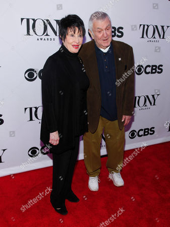 Chita Rivera, left, and John Kander, right, attend the 2015 Tony Awards Meet The Nominees Press Junket at The Paramount Hotel, in New York