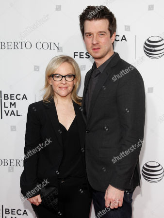 """Rachael Harris, left, and Christian Hebel, right, attend a Tribeca Film Festival closing night special screening of """"Goodfellas"""" at the Beacon Theater, in New York"""