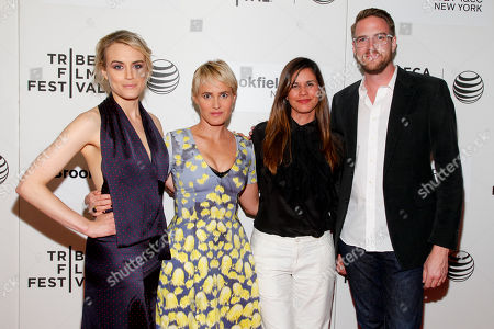 """Taylor Schilling, from left, Judith Godreche, Naomi Scott and Patrick Brice attend the Tribeca Film Festival premiere of """"The Overnight"""" at BMCC Tribeca Performing Arts Center, in New York"""