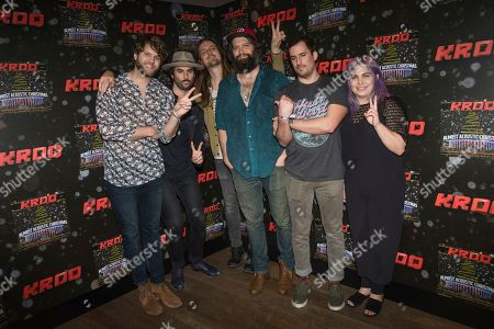 Tyler Williams, from left, Jonathan Russell, Josiah Johnson, Chris Zasche, Kenny Hensley, and Charity Rose Thielen of The Head and the Heart pose at the 2016 KROQ Almost Acoustic Christmas at The Forum, in Inglewood, Calif