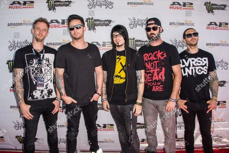 "Matt Brandyberry, from left, Chris Musser, Branden ""Boo"" Kreider, Tim D'onofrio, Lance Dowdle of From Ashes to New arrive at the 2016 Journeys AP Music Awards at Value City Arena at the Jerome Schottenstein Center, in Columbus, Ohio"
