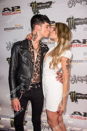 Stock Photo of Andy Biersack and Juliet Simms arrive at the 2016 Journeys AP Music Awards at Value City Arena at the Jerome Schottenstein Center, in Columbus, Ohio