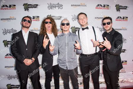 Stock Photo of B.J. Stead, from left, Levi Benton, Ryan Neff, Justin Aufdemkampe, and Jerod Boyd of Miss May I arrive at the 2016 Journeys AP Music Awards at Value City Arena at the Jerome Schottenstein Center, in Columbus, Ohio