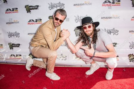 Sean Foreman, left, and Nathaniel Motte of 3OH!3 arrive at the 2016 Journeys AP Music Awards at Value City Arena at the Jerome Schottenstein Center, in Columbus, Ohio