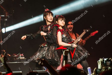 Yui Mizuno and Moa Kikuchi of BABYMETAL perform at the 2016 Journeys AP Music Awards at Value City Arena at the Jerome Schottenstein Center, in Columbus, Ohio