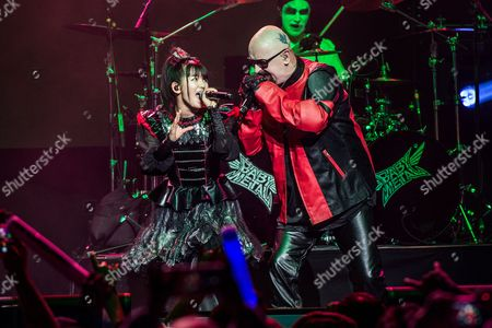 Rob Halford of Judas Priest and Yui Mizuno of BABYMETAL perform at the 2016 Journeys AP Music Awards at Value City Arena at the Jerome Schottenstein Center, in Columbus, Ohio