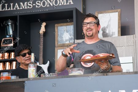 Richard Cheech Marin, left, and Chris Cosentino attend a cooking demonstration at BottleRock Napa Valley Music Festival at Napa Valley Expo, in Napa, Calif