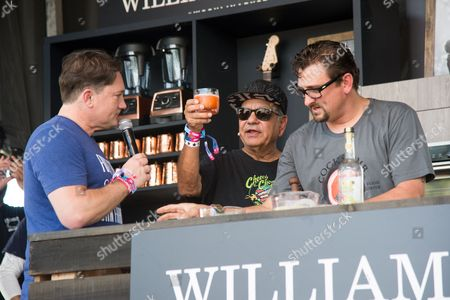 Chris Cosentino, second from left, and Richard Cheech Marin attend a cooking demonstration at BottleRock Napa Valley Music Festival at Napa Valley Expo, in Napa, Calif