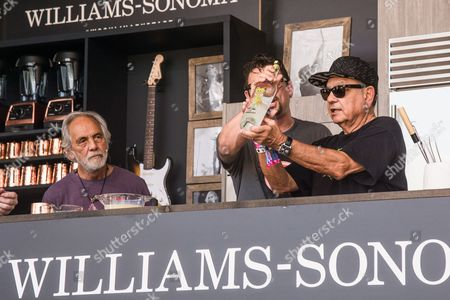 Tommy Chong, left, Chris Cosentino, and Richard Cheech Marin attend a cooking demonstration at BottleRock Napa Valley Music Festival at Napa Valley Expo, in Napa, Calif
