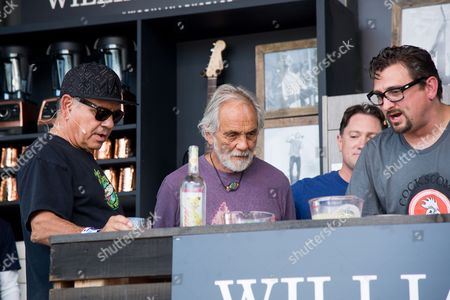 Richard Cheech Marin, left, Tommy Chong, and Chris Cosentino attend a cooking demonstration at BottleRock Napa Valley Music Festival at Napa Valley Expo, in Napa, Calif