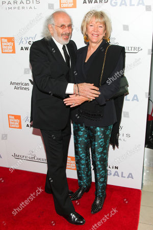Jerry Schatzberg, left, and Wendy Keys, right, attend the 43rd Chaplin Award Gala Honoring Morgan Freeman at Alice Tully Hall, in New York
