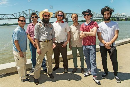 Matt Meyer, from left, Joey Glynn, Ryan Koenig, Adam Hoskins, Alec Spiegelman, Pokey LaFarge, and Luc Kline of Pokey LaFarge seen during day two of Forecastle Music Festival at Waterfront Park, in Louisville, Ky
