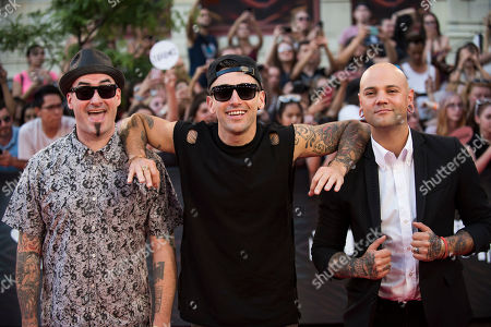 Stock Image of Tommy Mac, Jacob Hoggard and David Rosin of Hedley arrive at the 2016 iHeartRadio MuchMusic Video Awards, in Toronto, Canada
