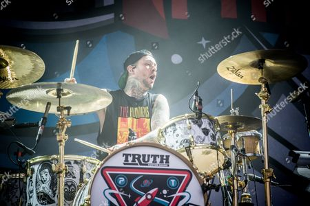 Stock Picture of Mike Fuentes of Pierce The Veil performs at the Louder Than Life Festival, in Louisville, Ky