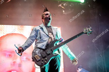 Johnny Christ of Avenged Sevenfold performs at the Louder Than Life Festival, in Louisville, Ky
