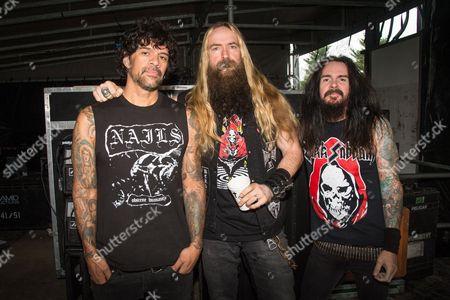 "Joey Castillo, from left, Zakk Wylde, and Rob ""Blasko"" Nicholson of ZAKK SABBATH pose at the Louder Than Life Festival, in Louisville, Ky"
