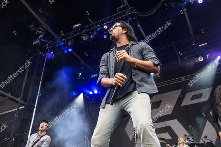 Leigh Kakaty of Pop Evil performs at the Louder Than Life Festival, in Louisville, Ky