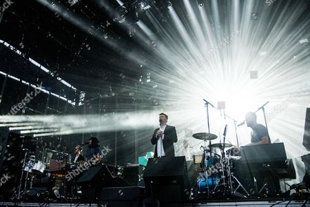 Al Doyle, from left, Nancy Whang, James Murphy, and Pat Mahoney of LCD Soundsystem perform at the 2016 Outside Lands Music Festival at Golden Gate Park, in San Francisco, Calif