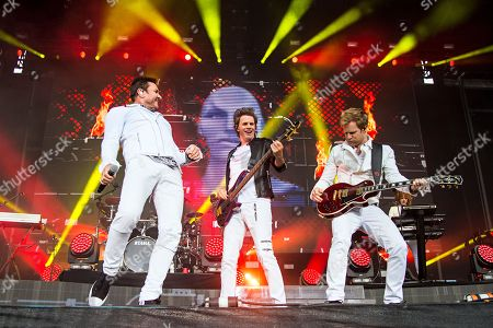 Simon Le Bon, from left, John Taylor, and Dom Brown of Duran Duran seen at 2016 Outside Lands Music Festival at Golden Gate Park, in San Francisco, Calif