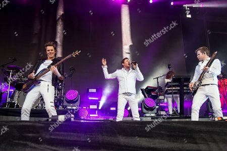 John Taylor, from left, Simon Le Bon, and Dom Brown of Duran Duran seen at 2016 Outside Lands Music Festival at Golden Gate Park, in San Francisco, Calif
