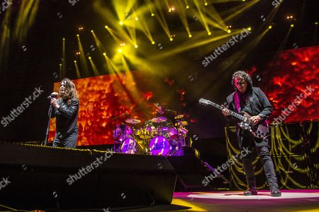 Ozzy Osbourne, left, and Tony Iommi of Black Sabbath performs during night one of Ozzfest meets Knotfest at San Manuel Amphitheater, in San Bernardino, Calif