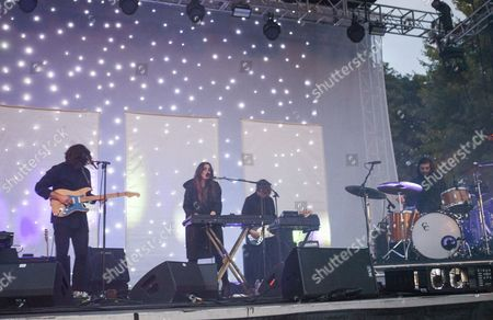 Alex Scally, Victoria Legrand, Skyler Skjelset, James Barone Beach House seen at the 2016 Pitchfork Music Festival, on in Chicago