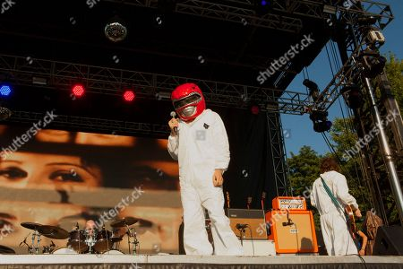 Dafydd Ieuan, Gruff Rhys, and Huw Bunford of Super Furry Animals seen at the 2016 Pitchfork Music Festival, on in Chicago