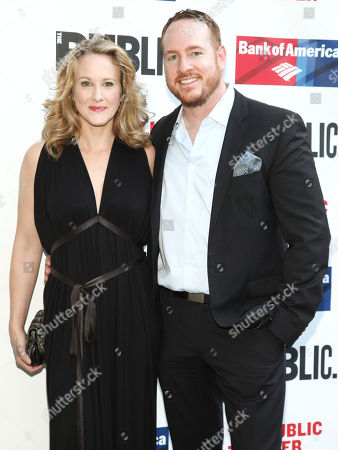 "Katie Finneran, left, and Darren Goldstein, right, attend the 2016 Public Theater Gala Benefit ""United States of Shakespeare"" at the Delacorte Theater in Central Park, in New York"