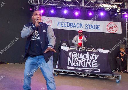 Vin Rock and DJ Kay Gee of Naughty by Nature perform at Rachael Ray's Feedback Party at Stubb's Bar-B-Que, during the South by Southwest Music Festival, in Austin, Texas