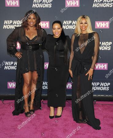 "DJ Spinderella; Cheryl 'Salt' James; Sandra 'Pepa' Denton From left, DJ Spinderella, and Cheryl ""Salt"" James and Sandra ""Pepa"" Denton of Salt-N-Pepa attends the arrivals at VH1's Hip Hop Honors at David Geffen Hall at Lincoln Center, in New York"