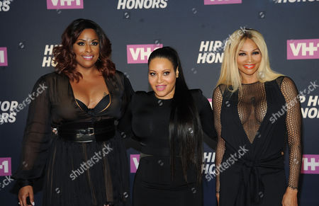 """From left, DJ Spinderella, and Cheryl """"Salt"""" James and Sandra """"Pepa"""" Denton of Salt-N-Pepa attends the arrivals at VH1's Hip Hop Honors at David Geffen Hall at Lincoln Center, in New York"""