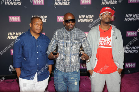 From Left, Vin Rock, Treach and DJ Kay Gee of the group Naughty By Nature attends the arrivals at VH1's Hip Hop Honors at David Geffen Hall at Lincoln Center, in New York
