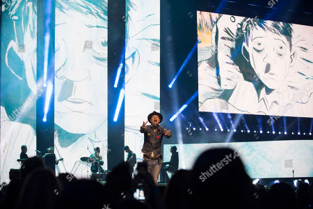 Gord Downie performs on stage at WE Day, in Toronto