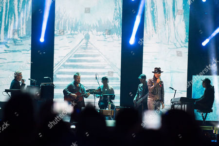 Gord Downie seen on stage at WE Day, in Toronto