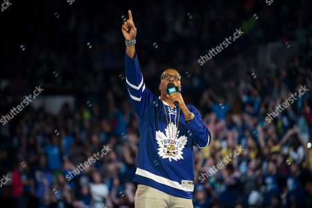 Kardinal Offishall seen on stage at WE Day, in Toronto