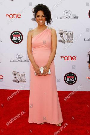 Janine Sherman Barrois arrives at the 45th NAACP Image Awards at the Pasadena Civic Auditorium, in Pasadena, Calif