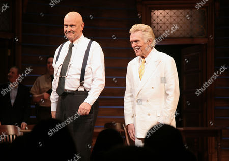 """Actors Fred Thompson, left, and Tom Skerritt, right, appear onstage at the opening night of """"A Time To Kill"""" on Broadway on in New York"""