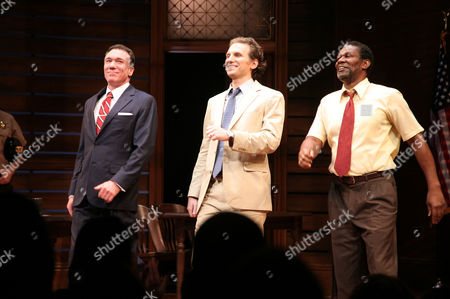 """From left, actors Patrick Page, Sebastian Arcelus and John Douglas Thompson appear onstage at the opening night of """"A Time To Kill"""" on Broadway on in New York"""