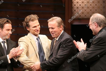 """Stock Photo of Author John Grisham, center, appears onstage with director Ethan McSweeney, far left, actor Sebastian Arcelus, second to left, and playwright Rupert Holmes, right, at the opening night of """"A Time To Kill"""" on Broadway on in New York"""