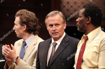 """Author John Grisham, center, appears onstage with actors Sebastian Arcelus, left, and John Douglas Thompson, right, at the opening night of """"A Time To Kill"""" on Broadway on in New York"""
