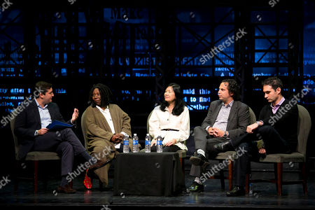 """President and COO of Tribeca Enterprises Jon Patricof, Actress Whoopi Goldberg, Global Executive Director of GE Judy Hu, VP of ESPN Films Connor Schell and Ogilvy Entertainment President Doug Scott participate in the """"Future of Film"""" seminar during Advertising Week on in New York"""