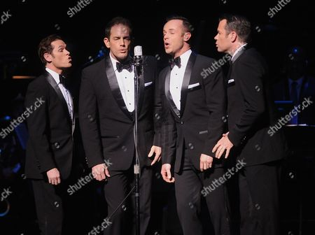 Andrew Tierney, Michael Tierney, Phil Burton and Toby Allen of the music group Human Nature perform on stage at the Apollo Theater Spring Gala and 80th Anniversary Celebration at the Apollo Theater on Monday, June, 10, 2014 in New York City