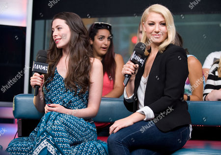 """Actresses Lauren Anne Miller, left, and Ari Graynor visit New.Music.Live. to promote their movie """"For a Good Time, Callâ?¦"""" at the MuchMusic HQ, in Toronto"""